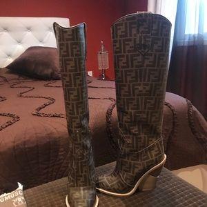 Fendi Shoes - Fendi FF Tall Western Boot sz 38 euro sz 8 US
